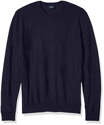 ARMANI JEANS Men's Plus Size All Over Eagle Logo Knit Pullover, Dark Blue, Large ()