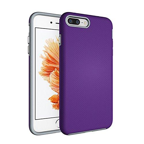 iPhone 7 Plus Case,AOFU [Premium Texture] Dual-Layer [Rugged PC+Soft TPU Bumper] Slim Fit Protective Cases Cover for Apple iPhone 7 Plus-Purple