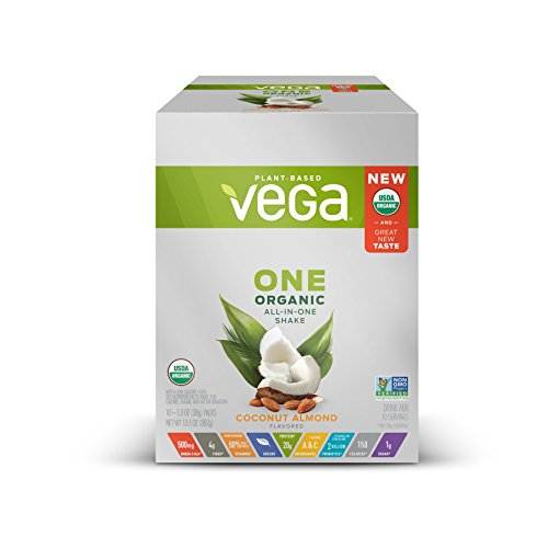Vega One Organic All-in-One Shake Coconut Almond (10 servings, 10x1.3 oz Packets) - Plant Based Vegan Protein Powder, Non Dairy, Gluten Free, Non GMO