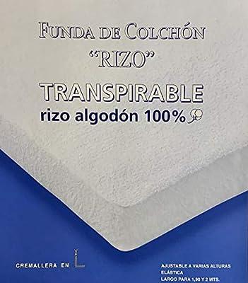 ZORBA Funda DE COLCHÓN Rizo ELÁSTICA, ALGODÓN 100% Color: Blanco ...