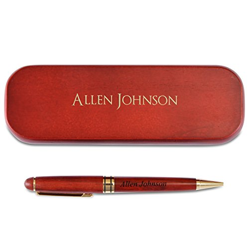 (Personalized Engraved Maple Wood Rosewood Ball Pen & Case Set Custom Gift (Rosewood))