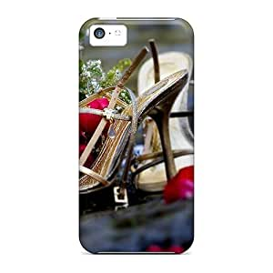 LJF phone case Cute Appearance Cover/tpu HHAFZlL7291uWQOm High Heels Roses Case For iphone 4/4s
