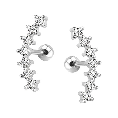 Curve Seven Stud CZ Stud Earrings 316L Stainless Steel Ear Helix Conch Cartilage Piercing