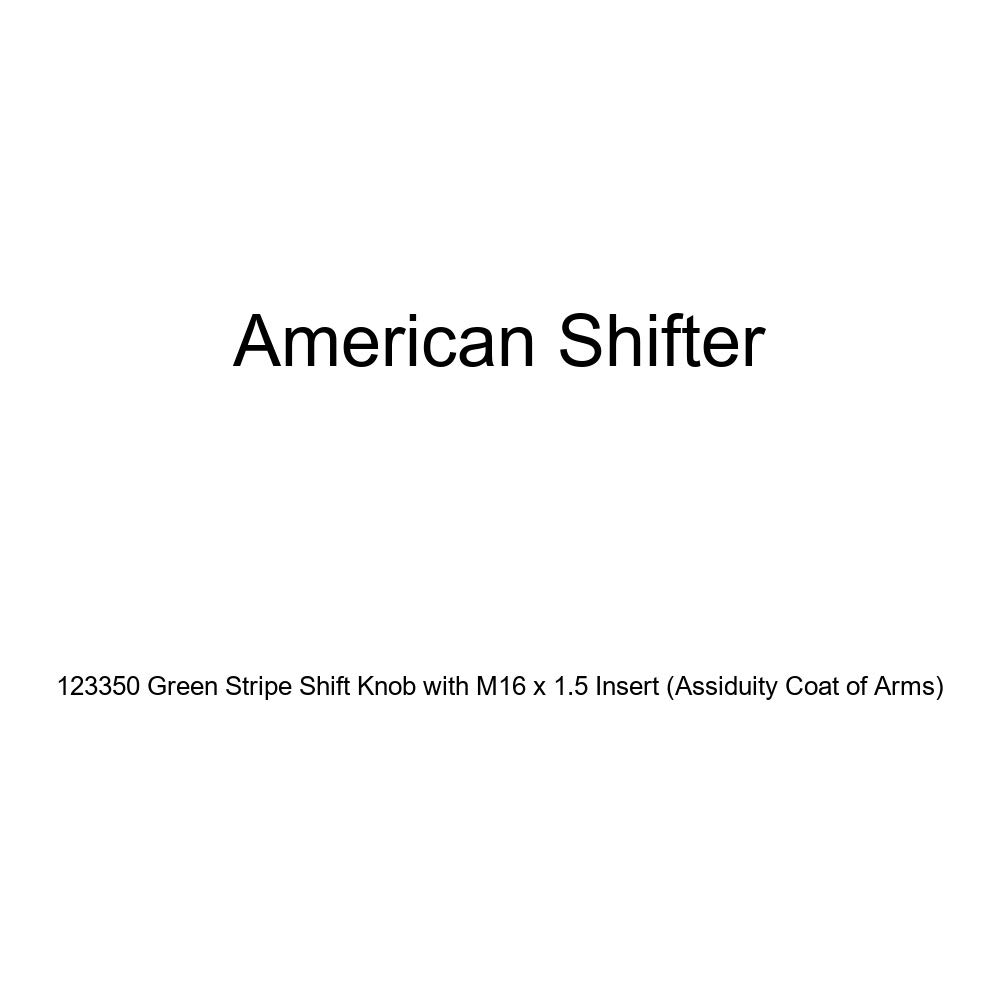 American Shifter 123350 Green Stripe Shift Knob with M16 x 1.5 Insert Assiduity Coat of Arms
