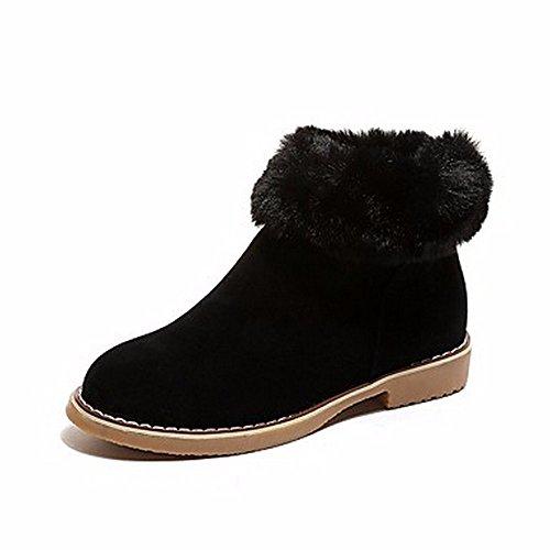 ZHUDJ Damen Schuhe Winter Stiefel Round Toe Mid-Calf Stiefel Mit Reißverschluss Für Casual Braun Grau Schwarz Black