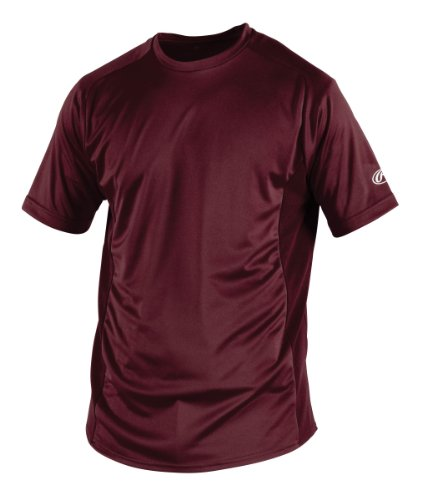 Rawlings Boy's Short Sleeve Baselayer Shirt, Maroon, Large
