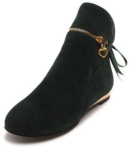 Easemax Women's Casual Bows Round Toe Pull On Faux Suede Flat Ankle High Booties Green wCI2qL