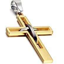 Flongo Men's Vintage Stainless Steel 2 Tone Hollowed Dual Cross Pendant Necklace, 22 inch Chain
