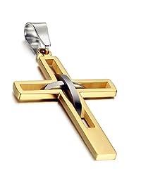 Flongo Men's Vintage Stainless Steel 2 Tone Hollowed Dual Cross Pendant Necklace, 22 inch Chain
