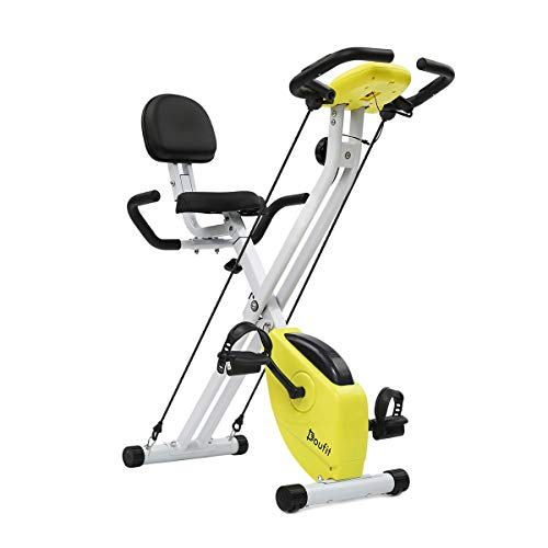 Doufit Folding Exercise Bike with Arm Workout, EB-01 Quiet Indoor Upright Bicycle with Backrest and Resistance Bands for Home Use