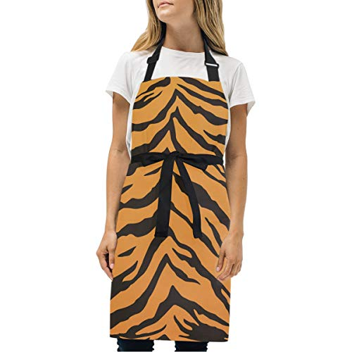 - DOMIKING Womens Aprons Tiger Stripes Apron Unisex Kitchen Bib Apron with Pockets Adjustable Neck for Cooking Baking Gardening