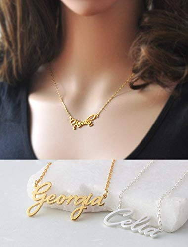 Name Necklace Personalized, 10K Solid Gold Custom Nameplate Necklace with Name Dainty Customized Jewelry for Women
