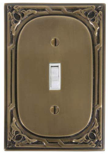 - Solid Cast Brass Single Switchplate with Victorian Pattern In Antique Brass Finish