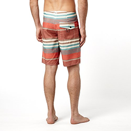 O'Neill Men's Santa Cruz Striped Boardshorts, Size 32, Red/Textured Orange
