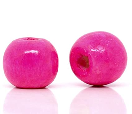 600 Pink Wood Beads Bulk 10 X 9mm Round Wood Bead With 3mm Large Hole