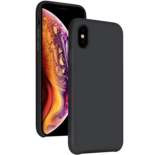 iPhone Xs Case Silicone Compatible with Apple 2018,5.8iPhone X Case Gel Rubber Hybrid PC Cases Bumper Shockproof Drop Protective Cover for Apple(Black)