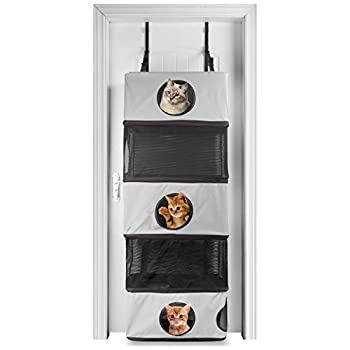 Image of X-ZONE PET 5-Storey All in One Portable Cat Activity Tower,Hanging Feline Funhouse - Cat Tree That Mounts to Door,Cozy Cat Climber Collapsible Cat Tunnel Pet Supplies