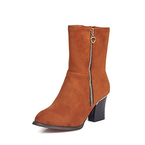 AllhqFashion Womens Solid Imitated Suede High-Heels Zipper Round Closed Toe Boots Brown hftiO
