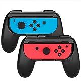 Proslife Dobe Joy-Con Controller Grips Wear-Resistant Game Handle for Switch(2 Pack, Black/Black)