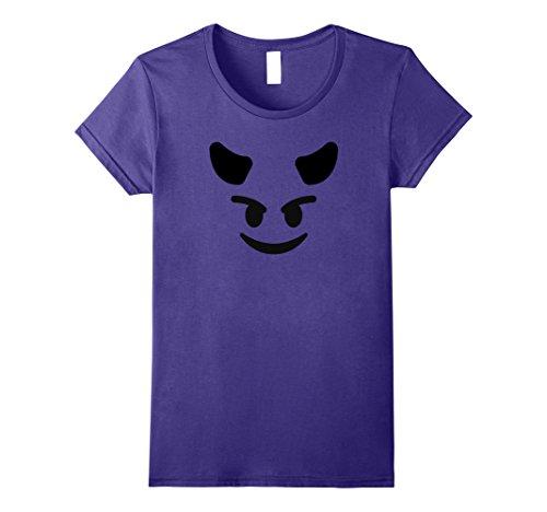 Womens Halloween Emoji Group Costume Shirt Devil Emoji T-Shirt Large Purple