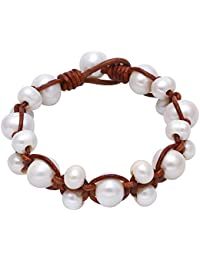 Freshwater Cultured Pearl Bracelet for Women with Twist Braided Leather Cord 7.8'' Light Brown