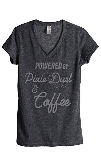Thread Tank Powered by Pixie Dust and Coffee Women's Relaxed V-Neck T-Shirt Tee Charcoal -