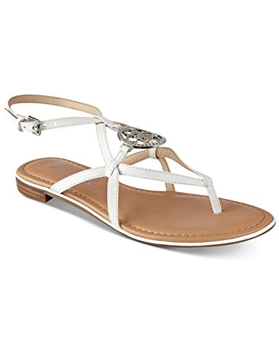 Guess Ankle Strap Sandals (G by GUESS Womens Romie Open Toe Casual Ankle Strap Sandals, White LL, Size 8.5)