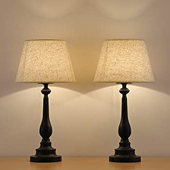 Genial HAITRAL Table Lamps Set Of 2   Vintage Bedside Desk Lamps With Mini Metal  Base And Fabric Linen Shade Bedside Lamps For Bedroom, End Table, Hallway,  Office, ...