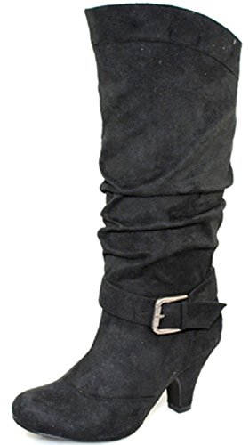 Lala Mid Fashion Knee 03 Leather Wild Suede Women's Shoes Black High Diva qT7OwF
