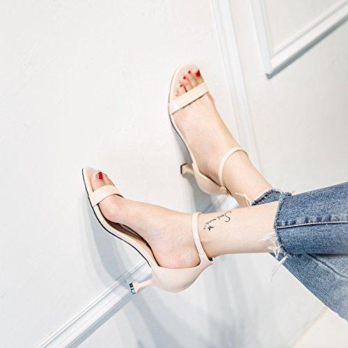VIVIOO Sandalias De Mujer Sandalias De Tacón Alto Gato De Tacón Alto Con Una Hebilla Con Sandalias Sandalias De Mujer Con Tacones Finos Femeninos Beige