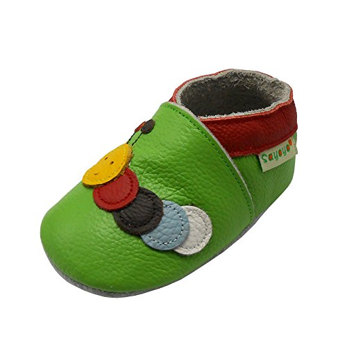 Sayoyo Baby Caterpillar Soft Sole Leather Infant Toddler Prewalker Shoes (Green,6-12 Months)