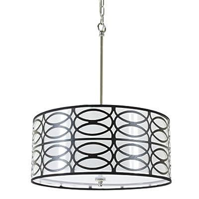Black Round Drum Shade 5-light Chrome Finish Pendant Chandelier Ceiling Fixture