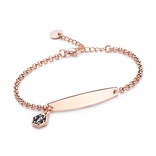 (linnalove-Free Customize Engraved Rose Gold Simple Rolo Chain Medical Alert id Bracelet for Women &)