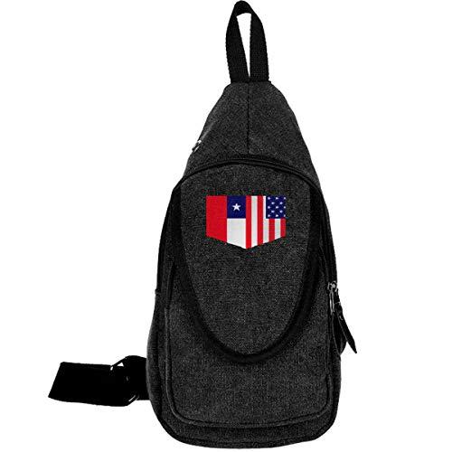 Chile Flag And American Flag Daypack For Men Women Chest Shoulder Backpack Workout Traveling