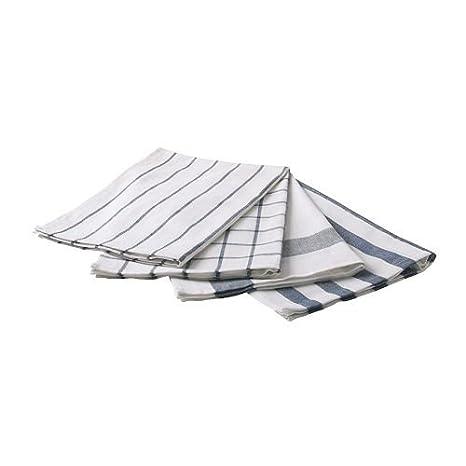 IKEA ELLY White & Blue Dish Towels (Set of 4)