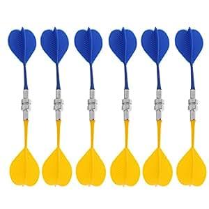 MagiDeal 12 Piezas de Dardos Magnetico Reemplazable Accesorio de Juego Interior - Azul Amarillo