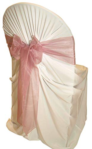 mds Pack of 50 Organza Chair sash Bow Sashes for Wedding and Events Supplies Party Decoration Chair Cover sash -Dusty Pink -