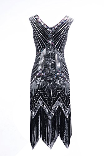 Womens 1920s Sequin Dress Gatsby Art Deco/ Cocktail / Flapper Party Dresses with Fringed (Latin Dancing Costume Patterns)