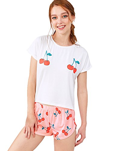 Floerns Women's Printed Short Sleeve Pajamas Top and Shorts Sets Pink L