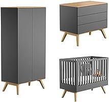 Vox Pack Cama bebé Gris 60 x 120 + colchón + cómoda Cambiador 3 cajones + Armario 2 Puertas + Plan Cambiador Nature: Amazon.es: Hogar