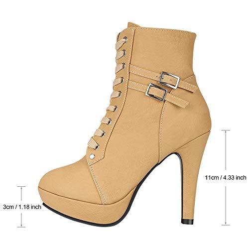 Style Stiletto Talons Plateforme Bottines En Daim Lacets Padgene Punk Faux 02brown Hauts aSO5w1xnq