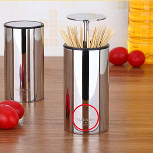 Vanselonsa Toothpick Box 304 Stainless Steel Creative Simple Personality Automatic Tube Cans Living Room Home - Stainless Holders Toothpick Keyring Cowboy Travel Black Square Ita by Vanselonsa