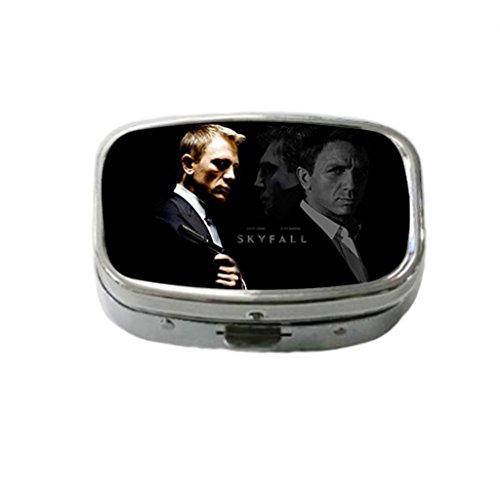 Daniel Craig Skyfall James Bond Custom Fashion Style Stainless Steel Square Pill Box Pill Case Vitamins Organizer or Jewelry Box,Coin - Style Skyfall