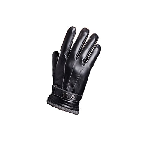 Leather Gloves Full Finger Mens Motorcycle Driving Winter Warm Touch Screen New (Black)