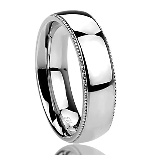 6MM Stainless Steel Mens Womens Rings Milgrain Edges Domed Classy Comfort Fit Wedding Bands SZ: 11.5