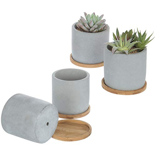 MyGift 4-Inch Gray Concrete Succulent Planter Pots with Bamboo Trays, Set of 4