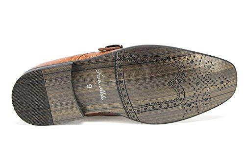 Mens Ferro Aldo 19308a Ceinture Unique Monk-strap Glisser Sur Robe Mocassins Chaussures Marron