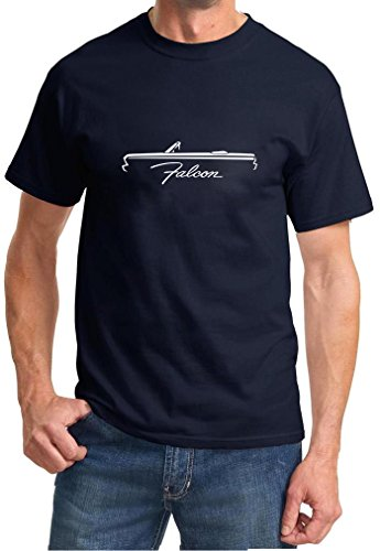 1964-65 Ford Falcon Convertible Classic Car Outline Design Tshirt 2XL navy blue