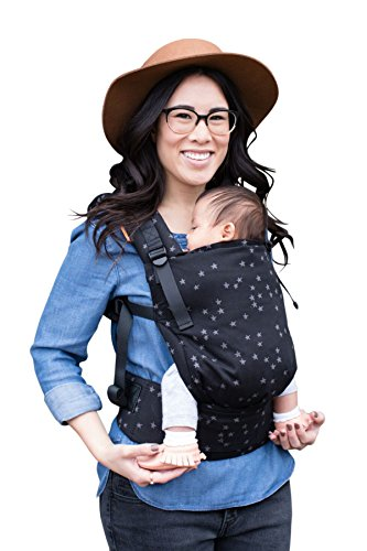 Baby Tula Discover Free-to-Grow Baby Carrier, Adjustable Newborn to Toddler Carrier, Ergonomic and Multiple Positions for 7-45 pounds, Black with Gray Stars