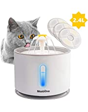 MOOBONA 2.4L Pet Drinking Water Fountain for Cats   Kitty Flower Fountains with LED and 3 Replacement Filters